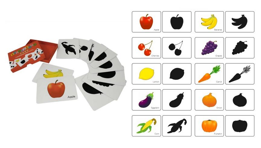 Карточки для детей: Фрукты и овощи на английском языке, карточки подбери тень к картинке